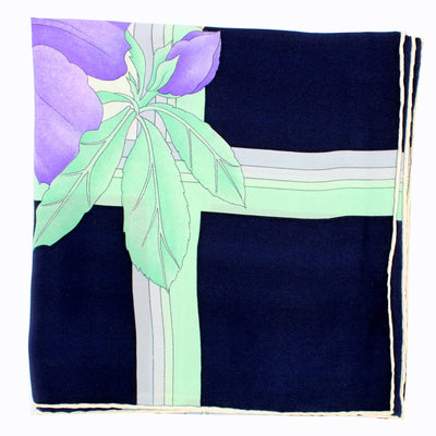 Leonard Scarf Lilac Mint Green Floral Black Border - Large Square Silk Scarf
