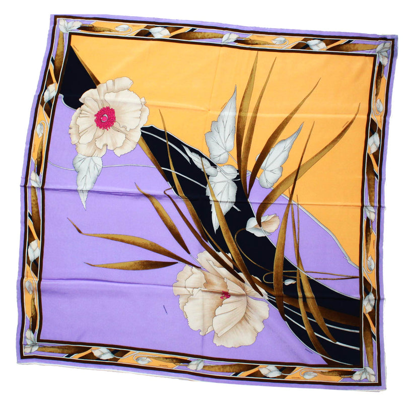 Leonard Scarf Brown Lilac Floral - Large Square Silk Scarf
