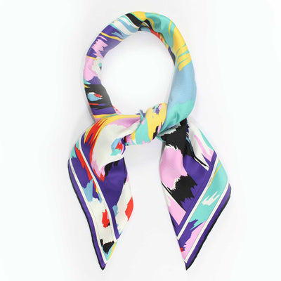 Leonard Paris Scarf Abstract Swirly Floral - Twill Silk Large Square Scarf