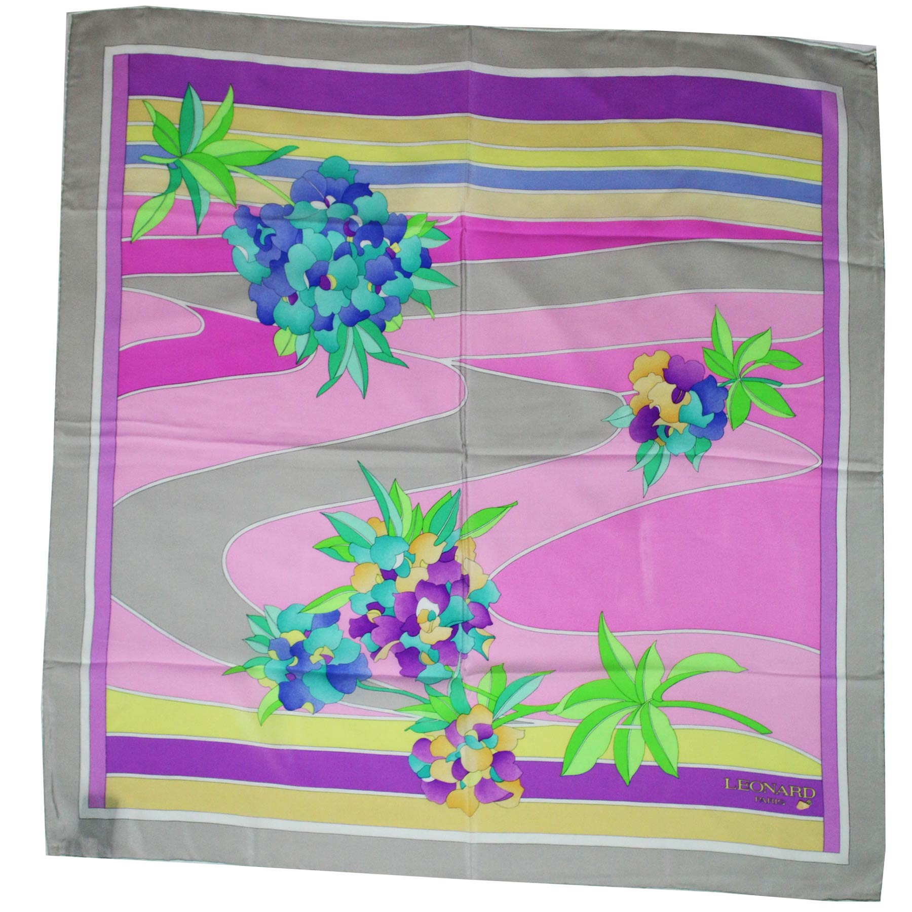 Leonard Paris Scarf Yellow Purple Pink Stripes Floral