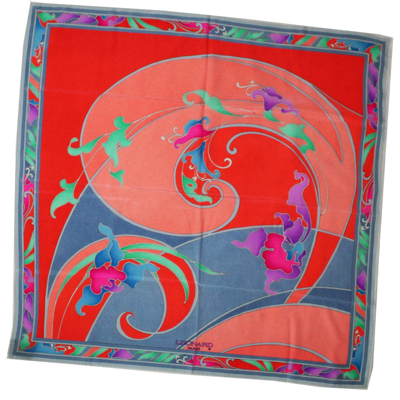 Leonard Paris Scarf Gray Lilac Orange Pink Floral - Large Square Silk Scarf SALE