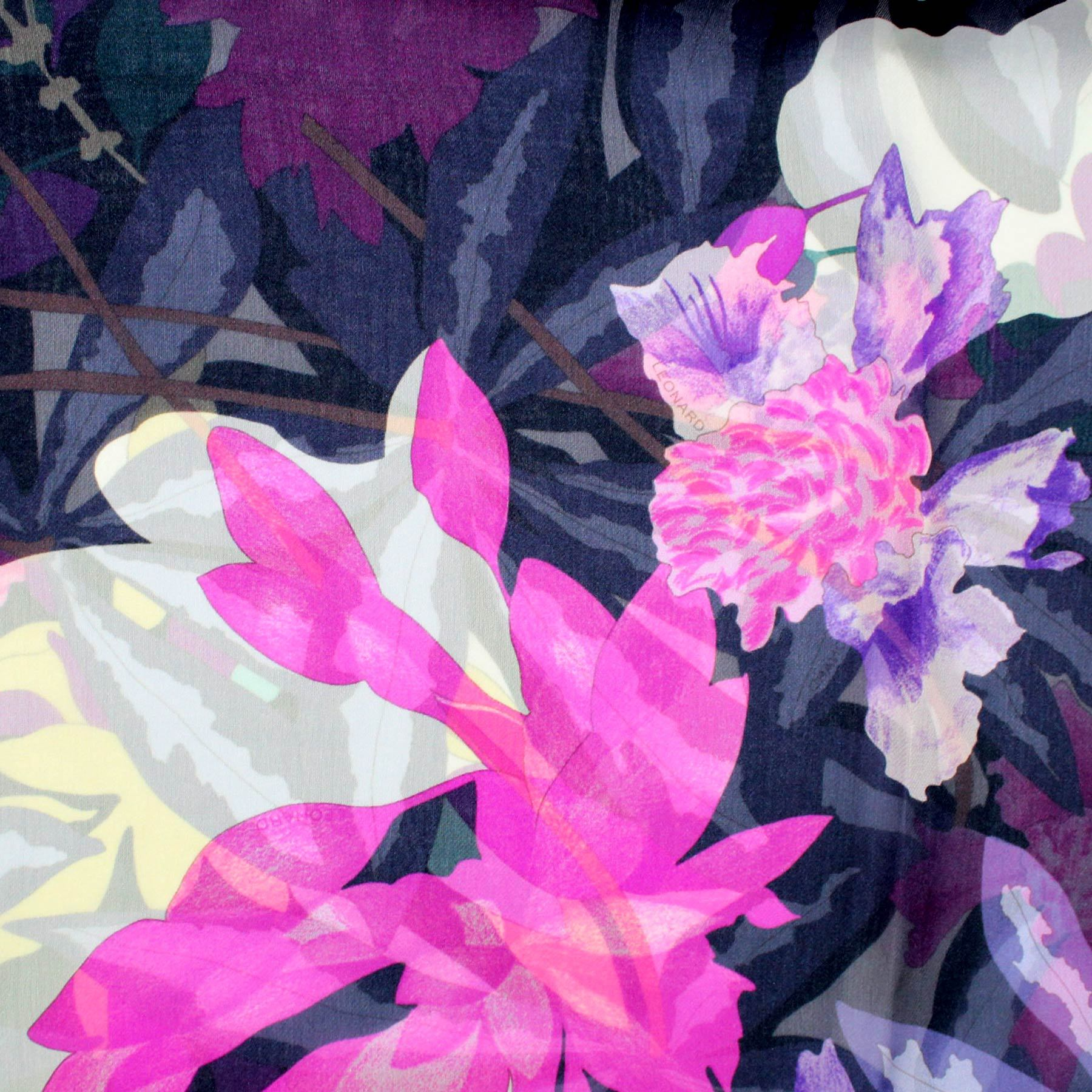 Leonard Paris Scarf Purple Floral Design - Chiffon Silk Shawl