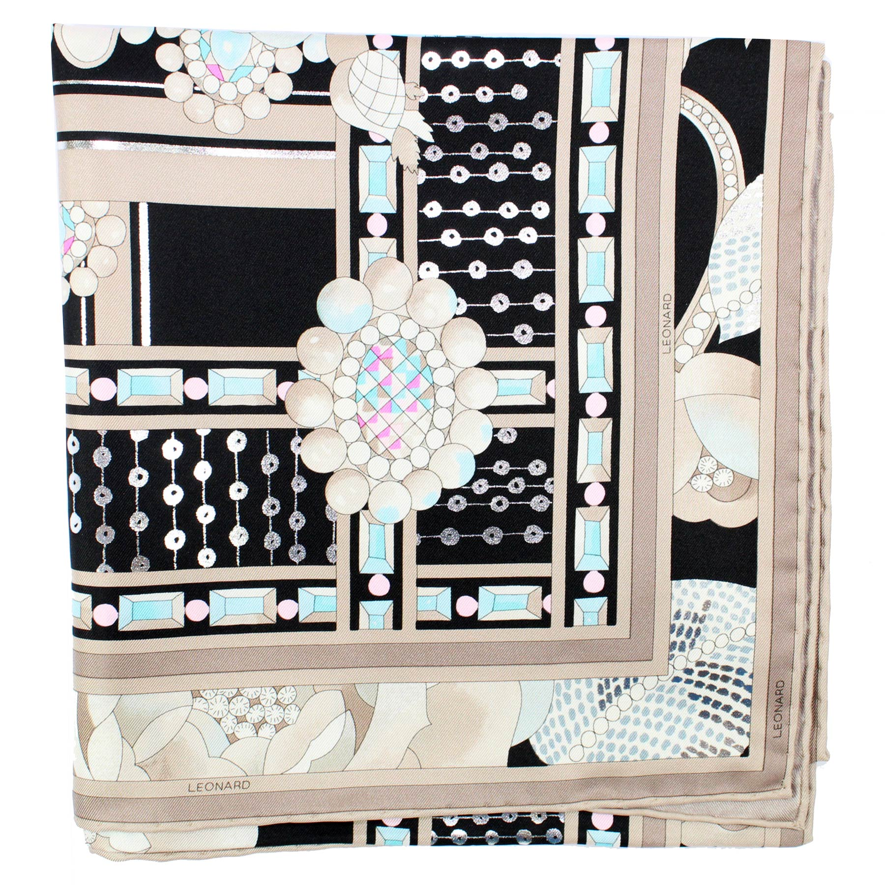 Leonard Scarf Cream Black Aqua Floral New
