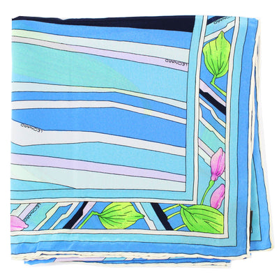 Leonard Paris Scarf Blue Pink Lime Floral - Large Square Silk Scarf