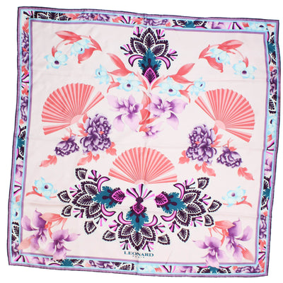 Leonard Paris Scarf Purple Pink Design  - Twill Silk Large Square Scarf