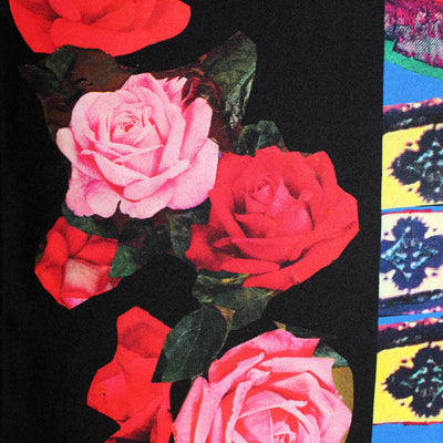 Leonard Paris Scarf Black Red Pink Roses - Slim Shawl