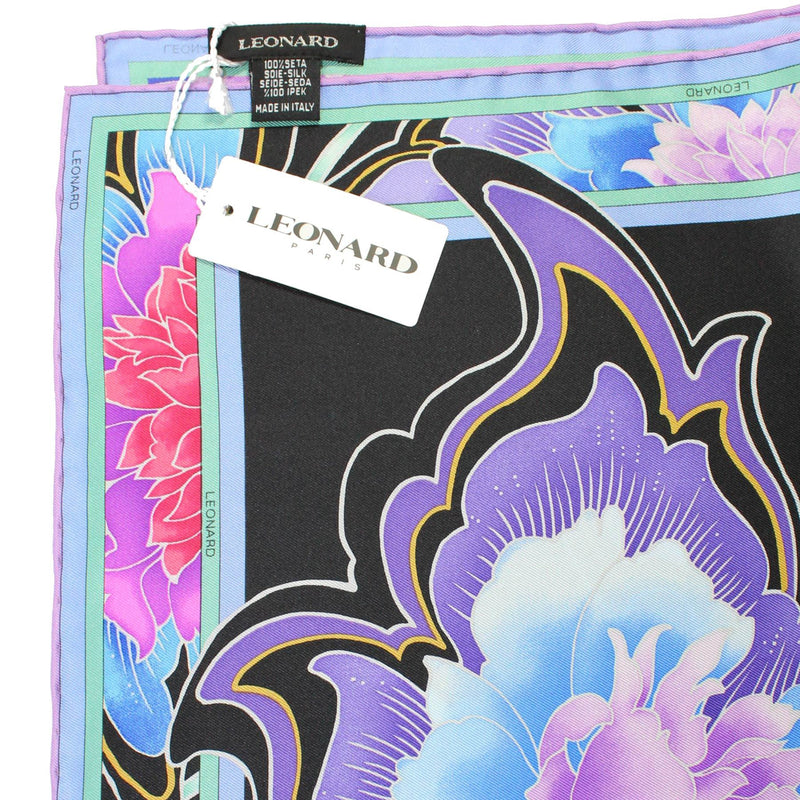 Leonard Paris Scarf Black Purple Pink Floral  New