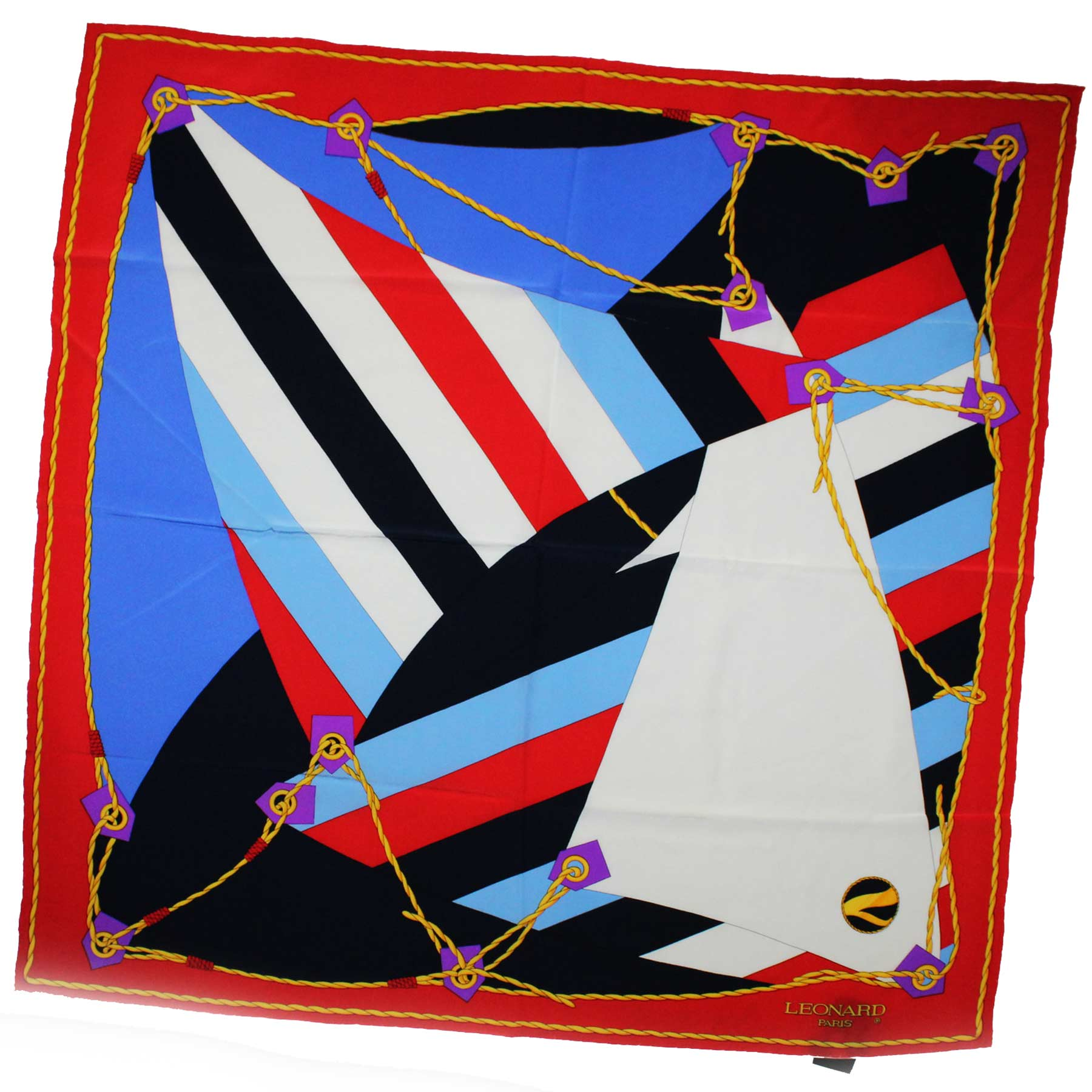 Leonard Paris Scarf Red White Gold Design - Large Square Silk Scarf Vintage SALE