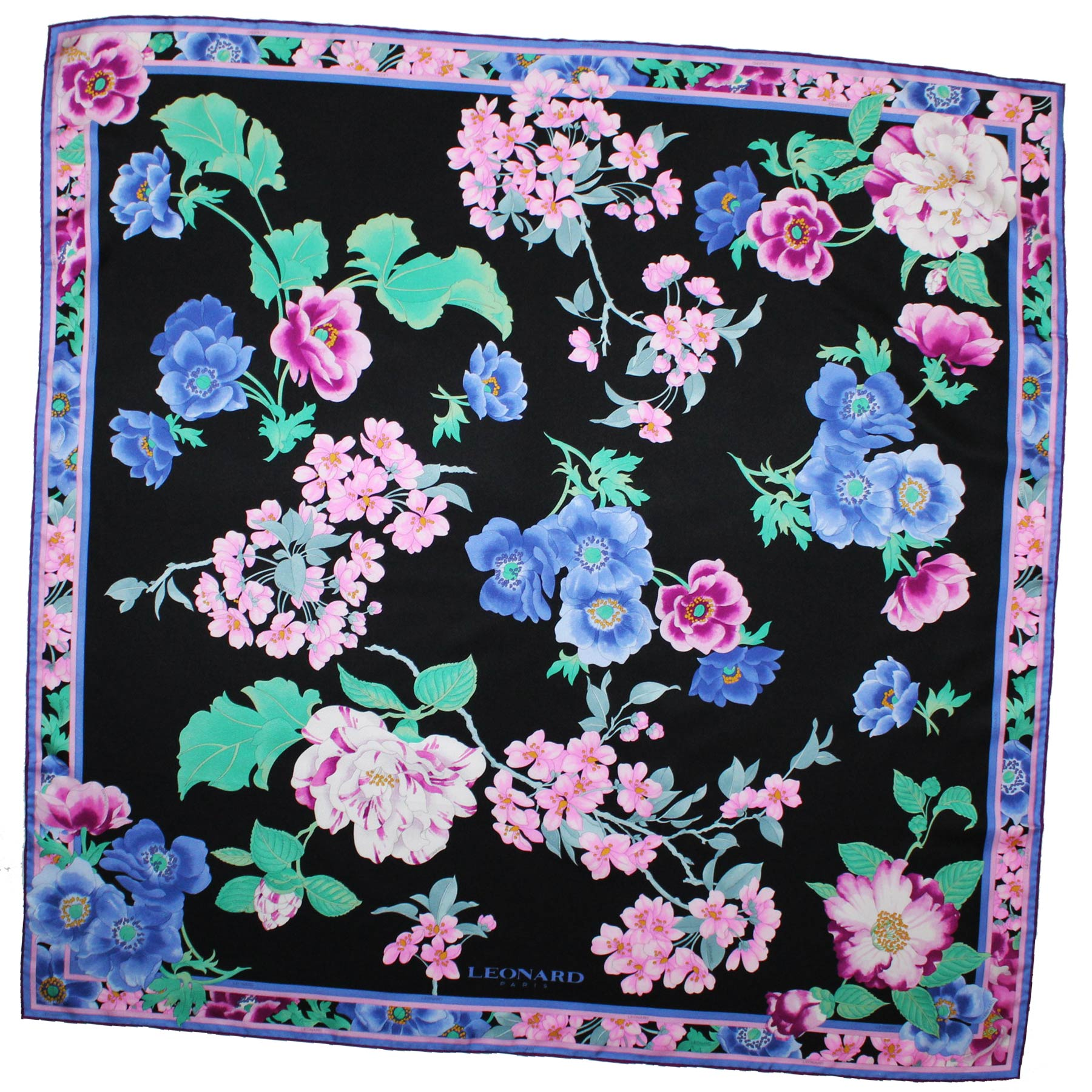 new Leonard Paris Scarf Black Pink Purple Floral