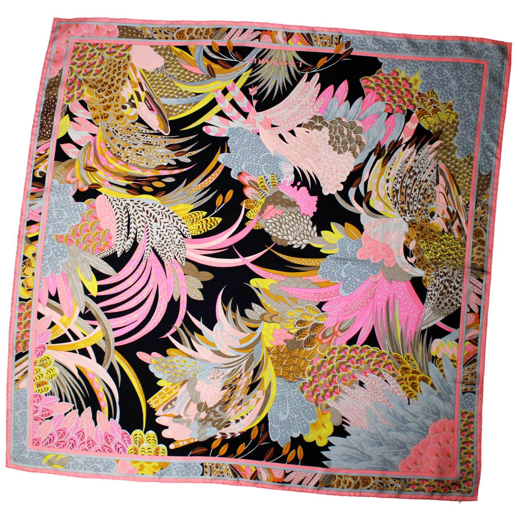 Leonard Paris Scarf Pink Brown Gray Floral - Large Square Twill Silk Scarf