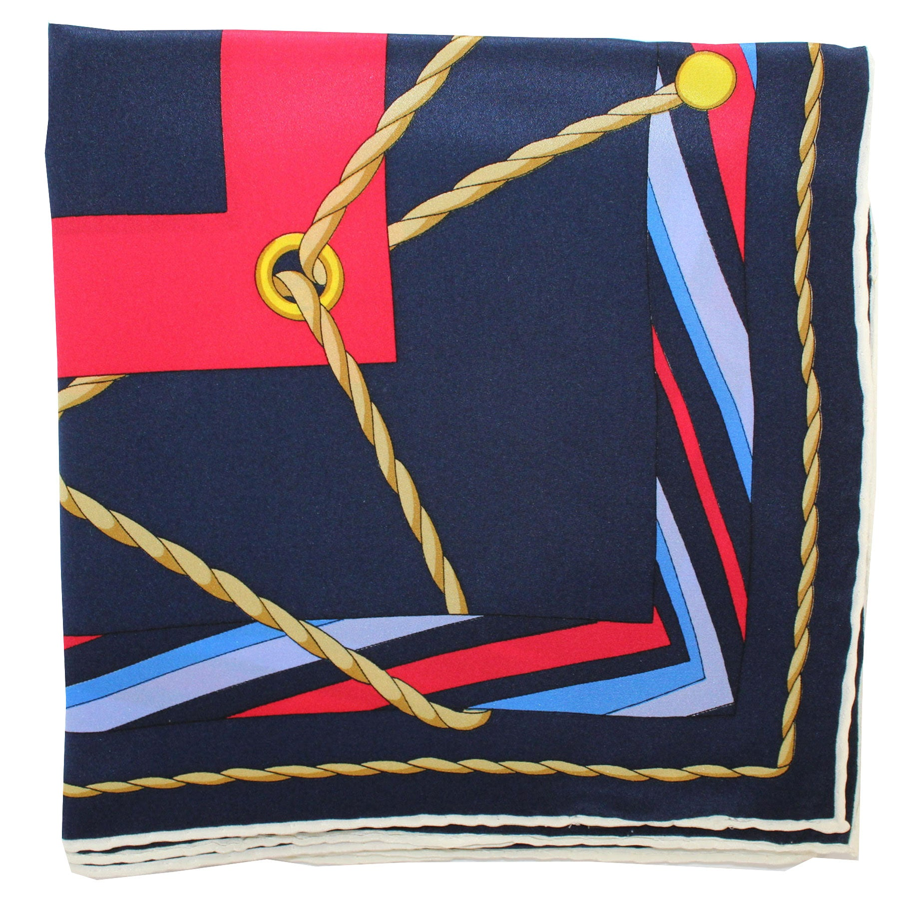 Leonard Paris Scarf Navy Red Gold Design - Large Square Silk Scarf Vintage