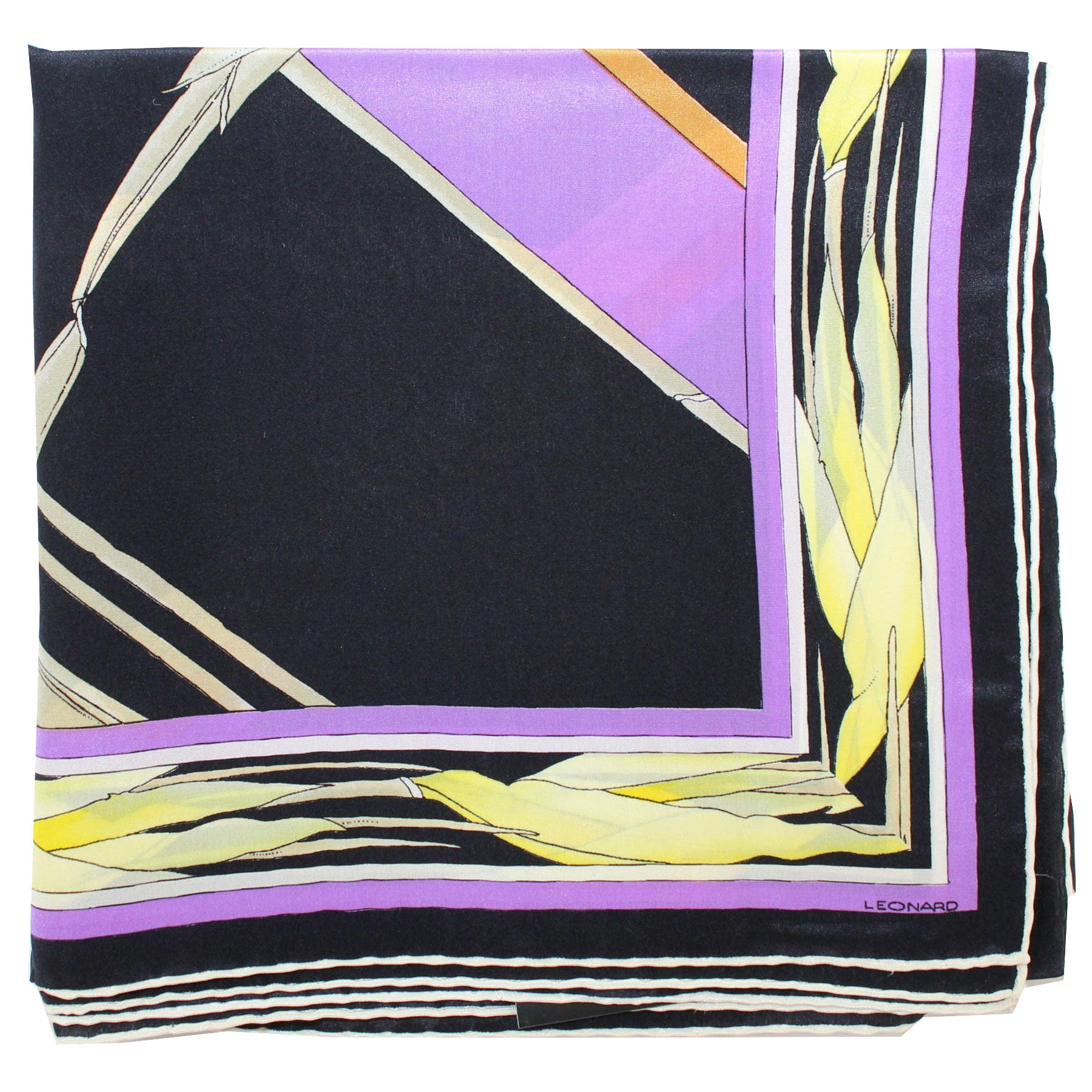 Leonard Paris Scarf Black Lilac Yellow Floral Design - Large Square Silk Scarf Vintage SALE