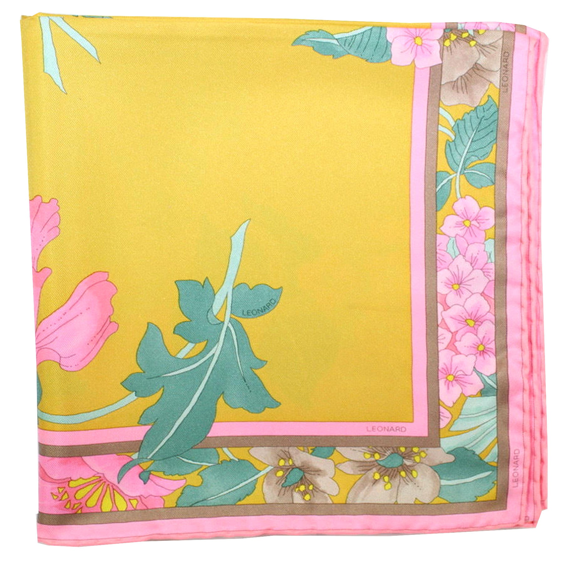 Leonard Paris Scarf Mustard Yellow Pink Floral - Large Square Twill Silk Scarf