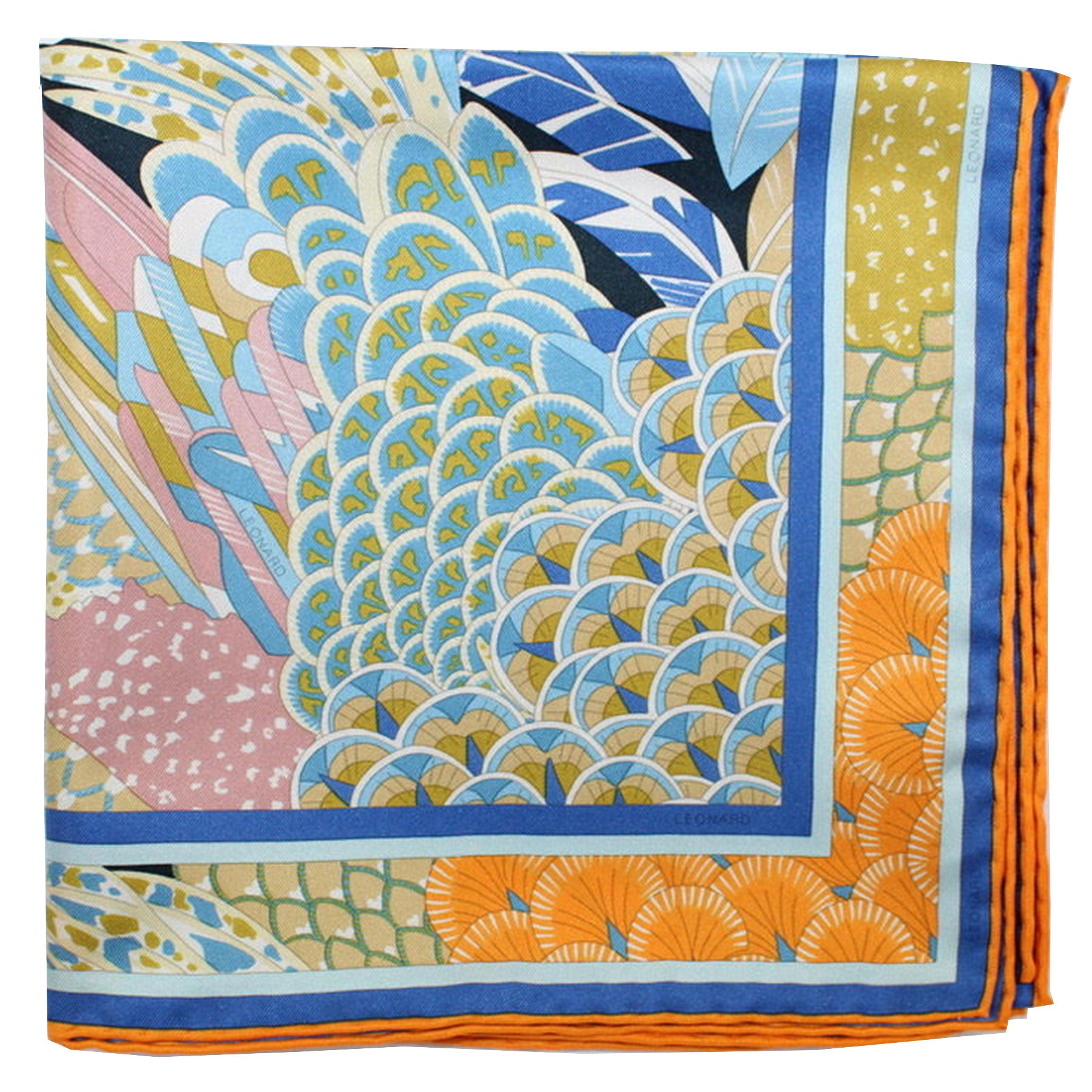 Leonard Paris Scarf Navy Royal Blue Orange Floral - Large Square Twill Silk Scarf