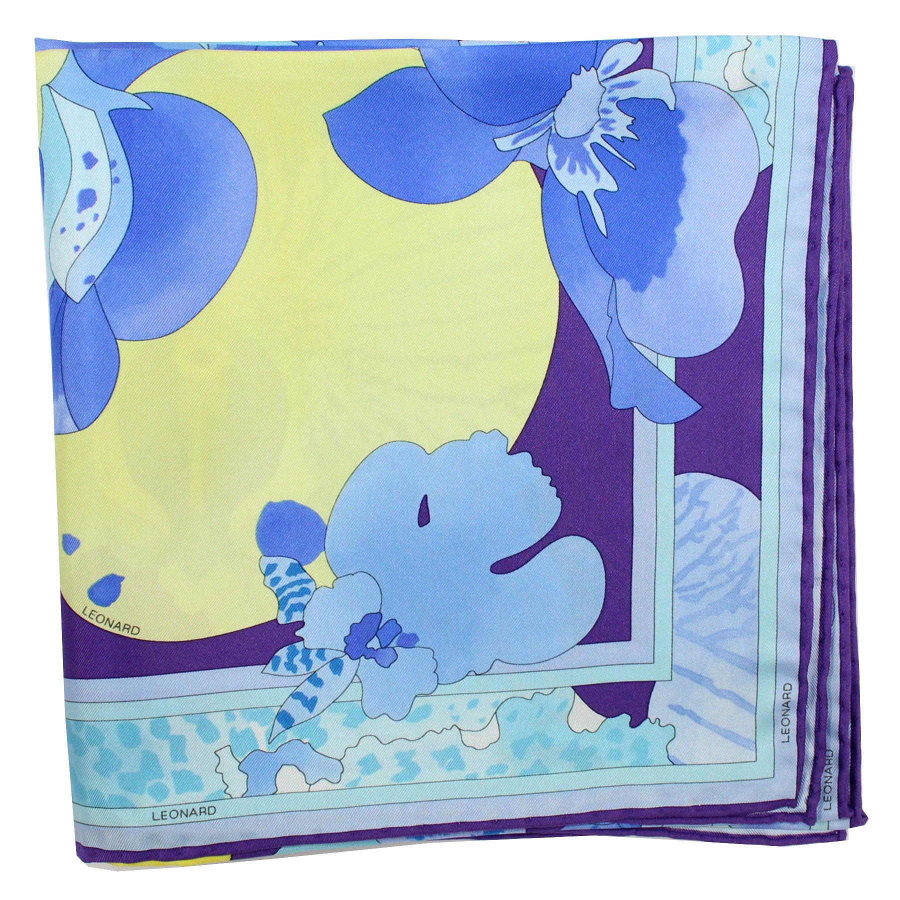 Leonard Paris Scarf Purple Blue Sky Blue Floral - Large Square Twill Silk Foulard