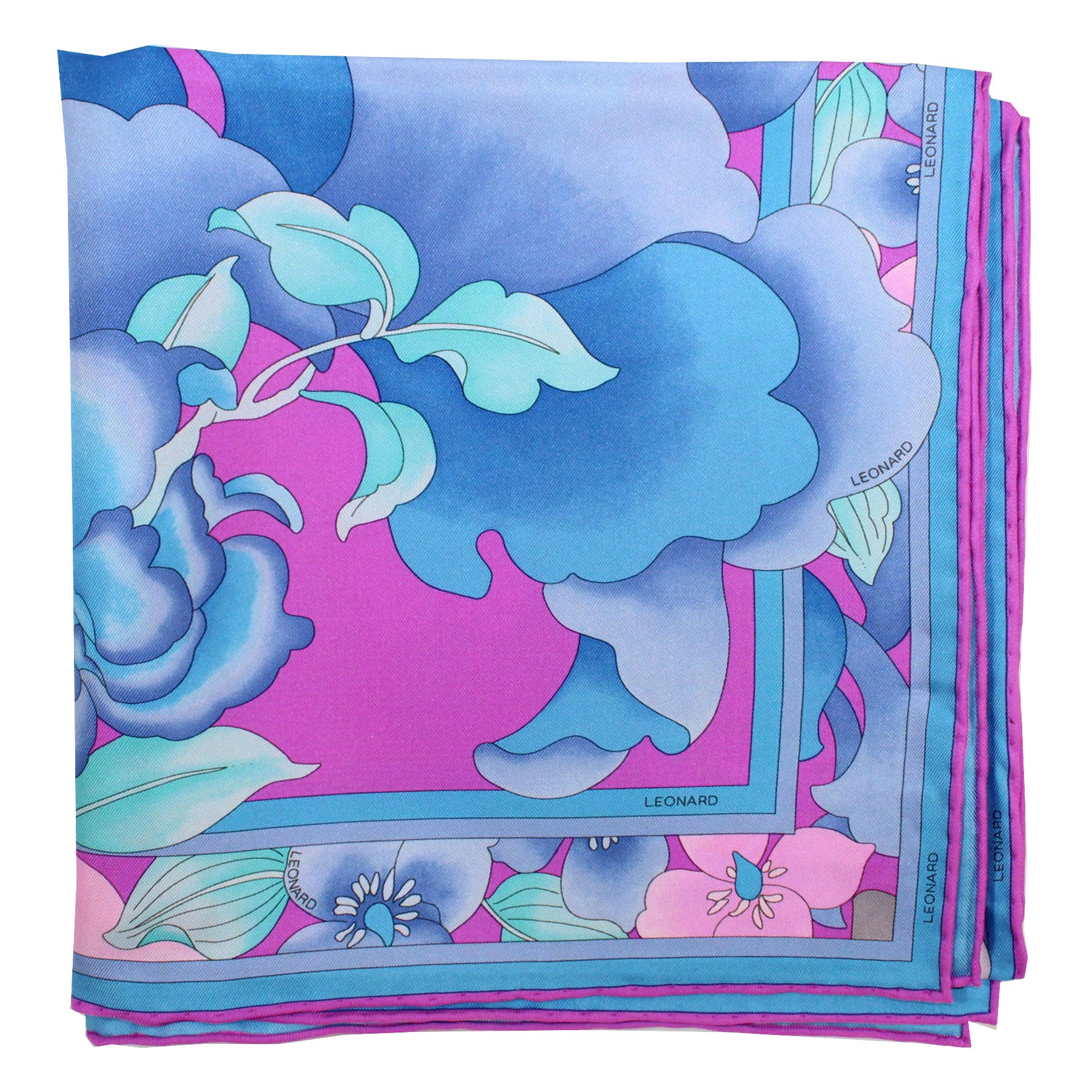 Leonard Paris Scarf Fuchsia Turquoise Blue Pink Floral - Large Square Twill Silk Foulard