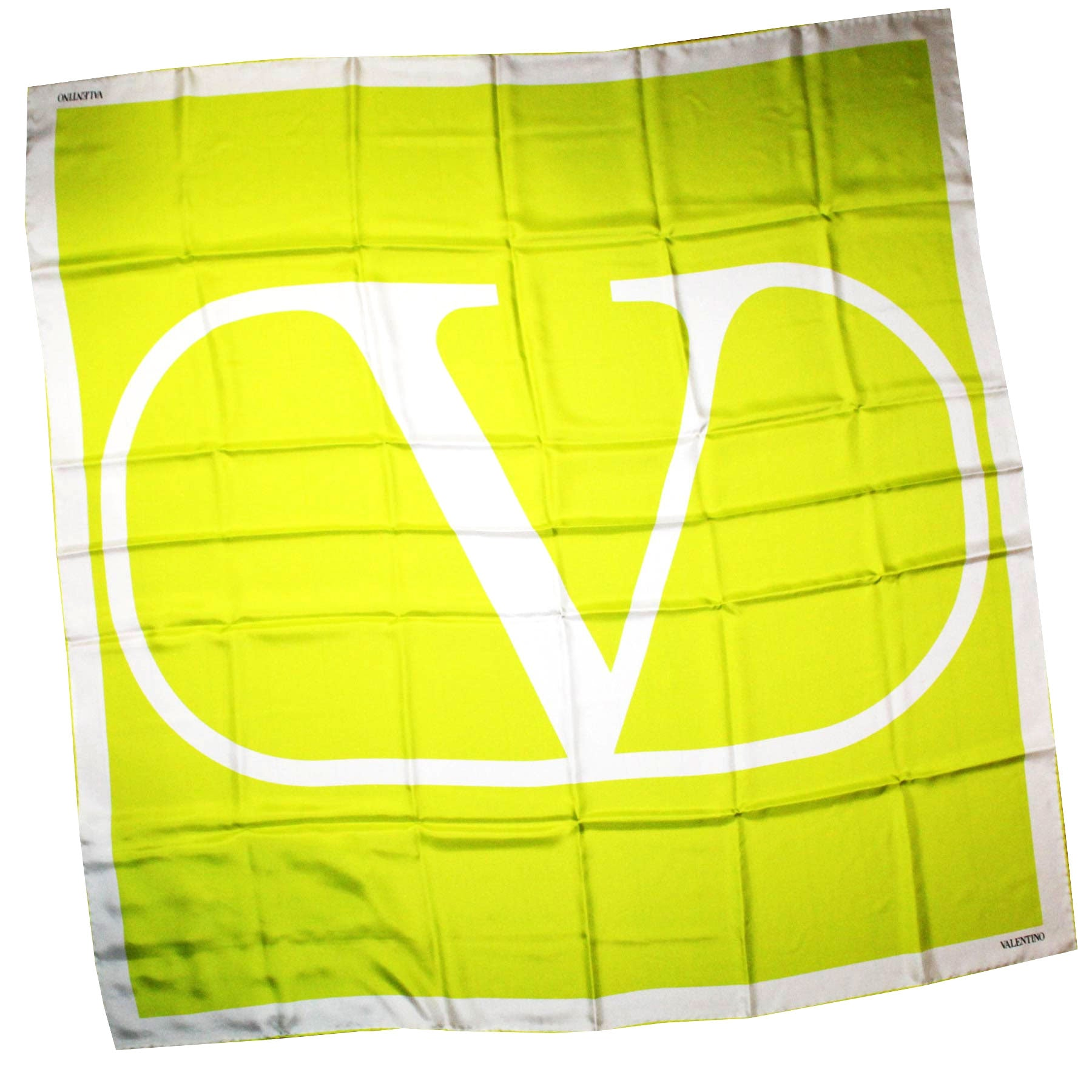 Valentino Scarf Lime White Logo - Extra Large Square Twill Silk Wrap FINAL SALE