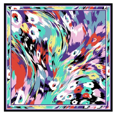 Leonard Paris Scarf Abstract Swirly Floral Astral
