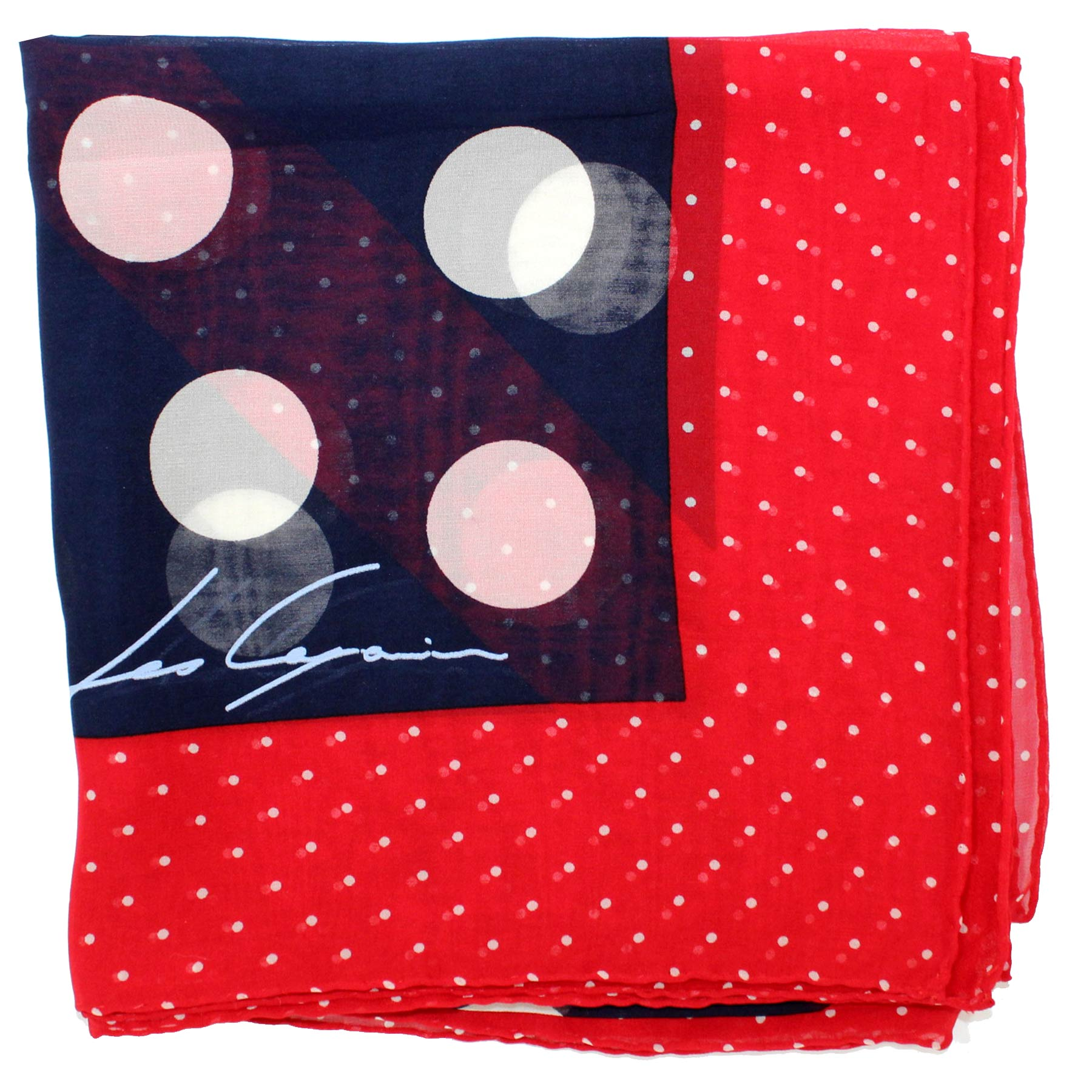 Les Copains Scarf Navy Red White Dots