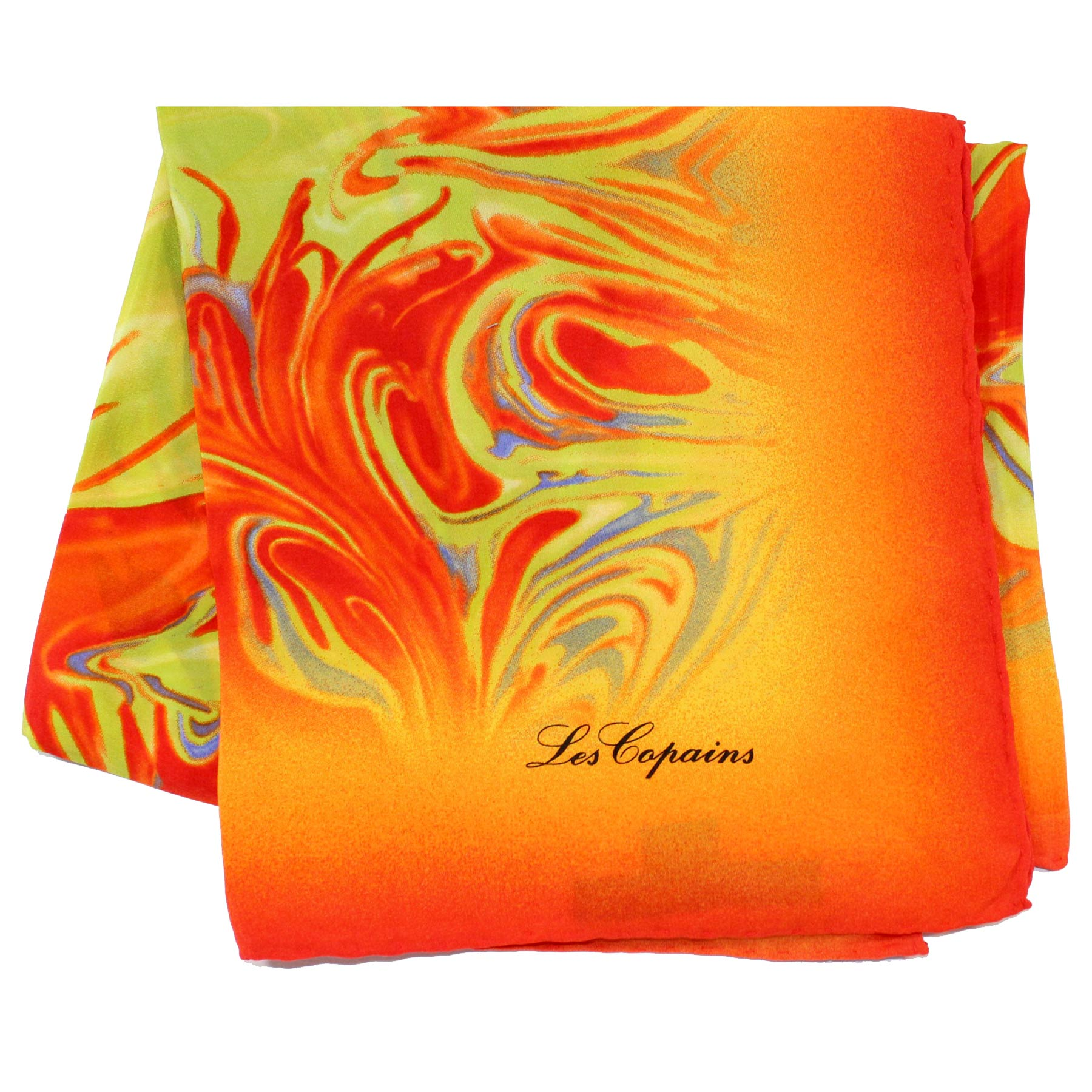 Les Copains Scarf Orange Lime Design