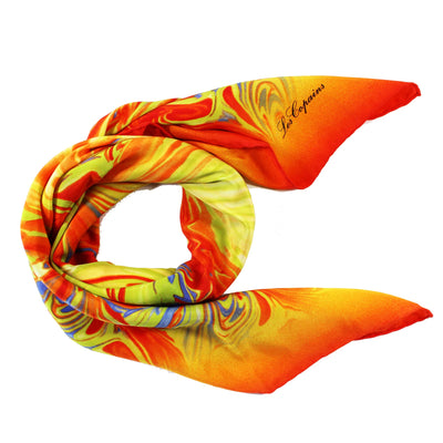 Les Copains Scarf Orange Lime Design - Large Twill Silk Square Scarf
