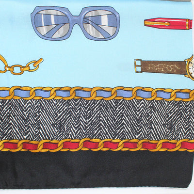 Les Copains Scarf Sky Blue Black Brown-Gold - Large Twill Silk Square Scarf