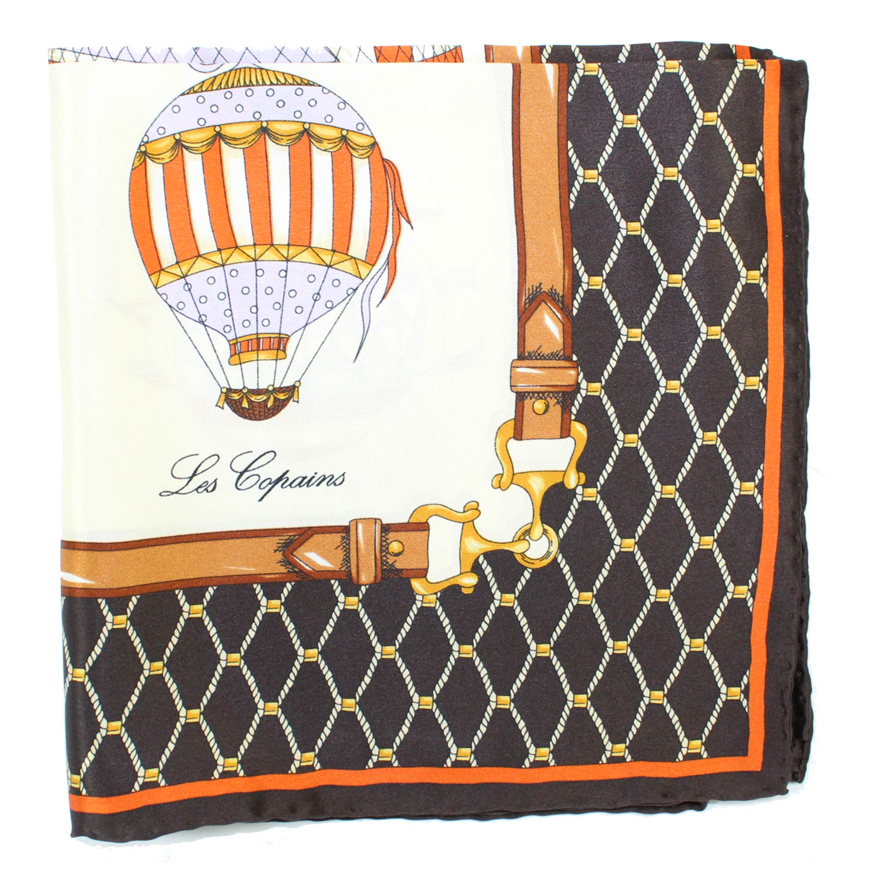 Les Copains Scarf Black Brown Cream Hot Air Balloons