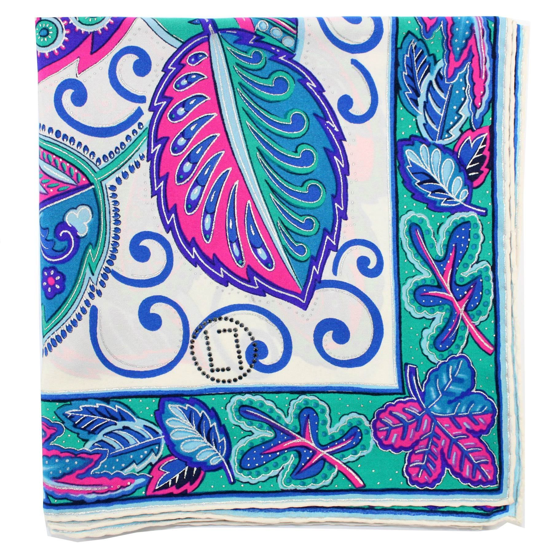 LL Scarf Blue Pink Green Paisley Large Square Silk Scarf