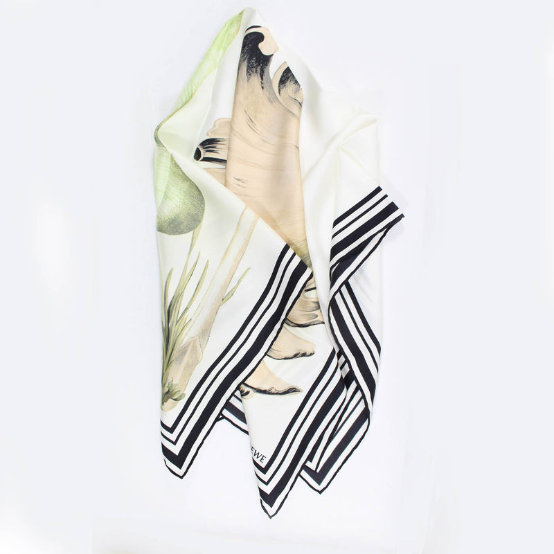 Loewe Scarf White Cream Green Mushroom - Large Square Twill Silk Scarf FINAL SALE
