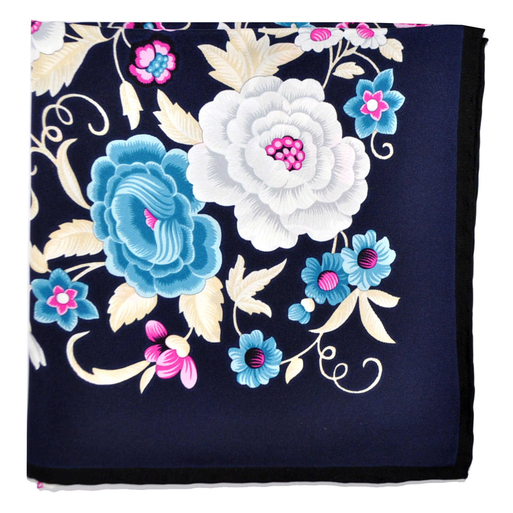 Loewe Scarf Black Blue Cream Floral - Silk Square Scarf