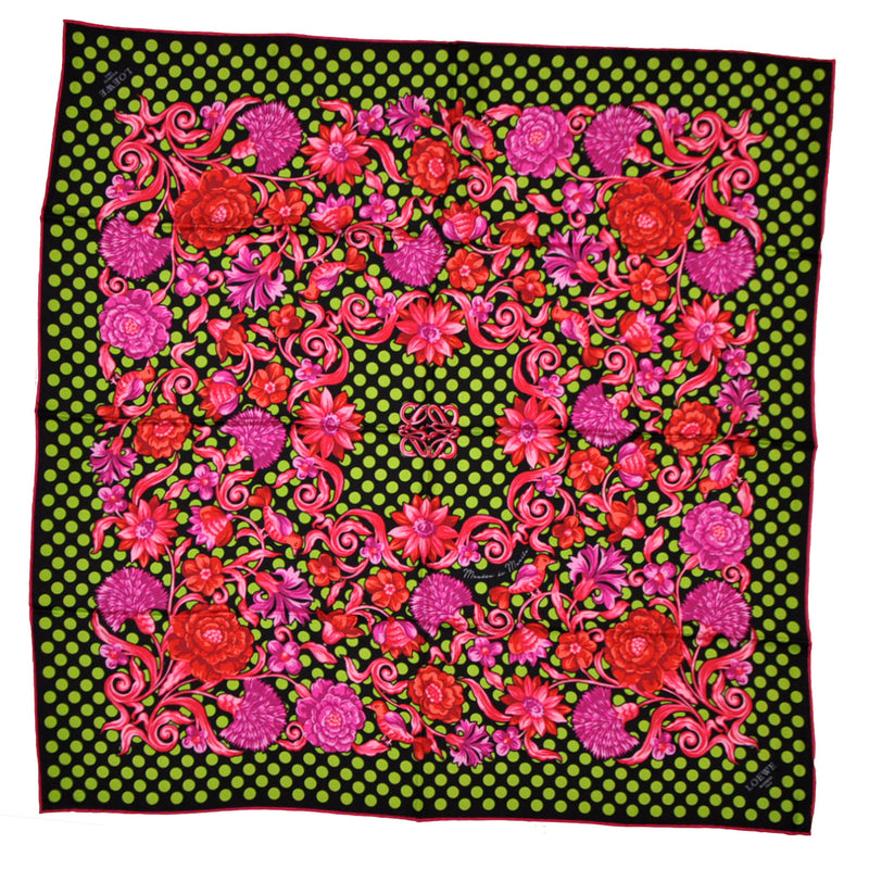 Loewe Scarf Mantón de Manila Lime Polka Dots Pink Red Floral - Large Square Scarf FINAL SALE