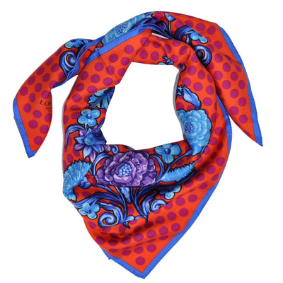 Loewe Scarf Orange Blue Fuchsia Polka Dots - Silk Square Scarf