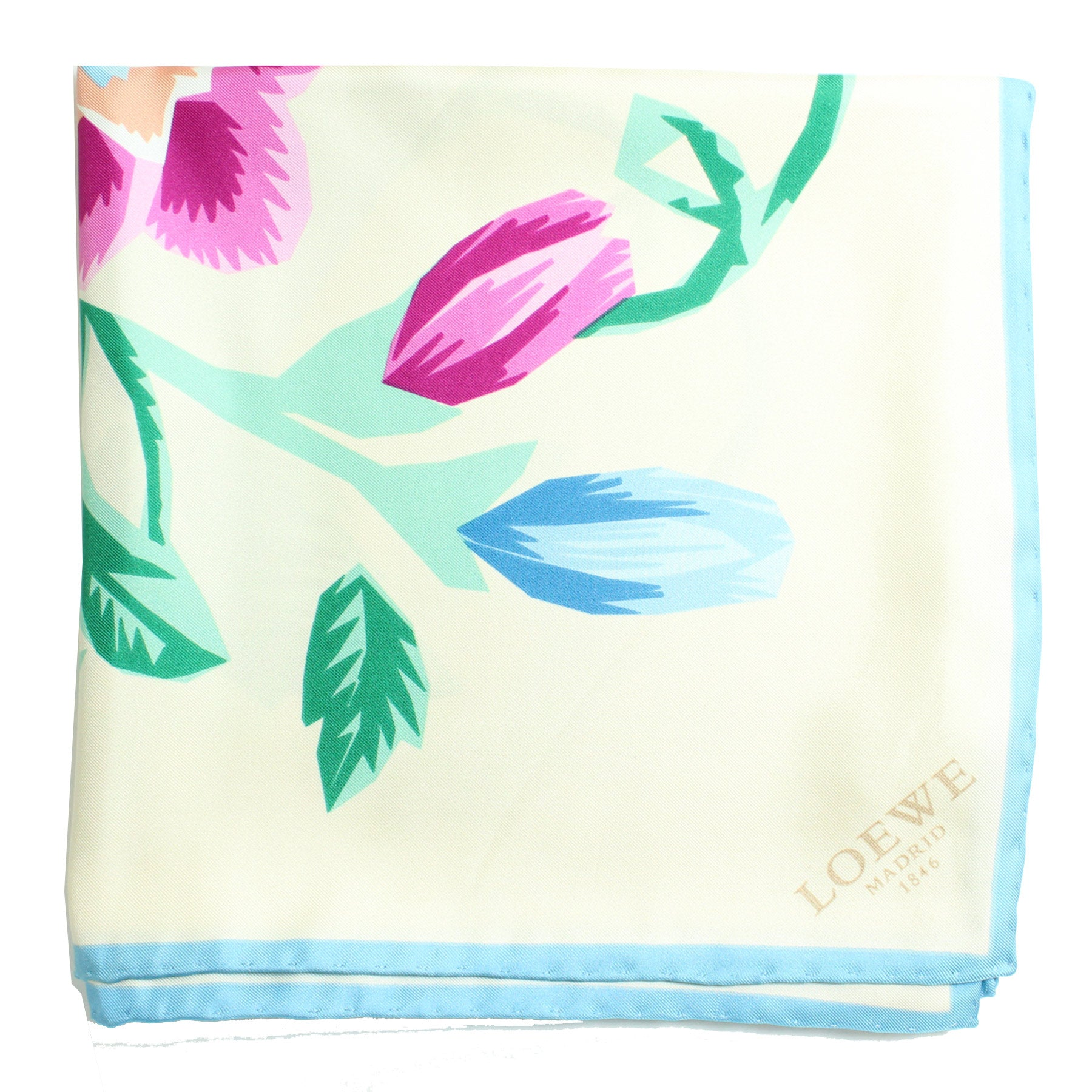 Loewe Scarf White Blue Green Pink Floral - Large Twill Silk Square Scarf