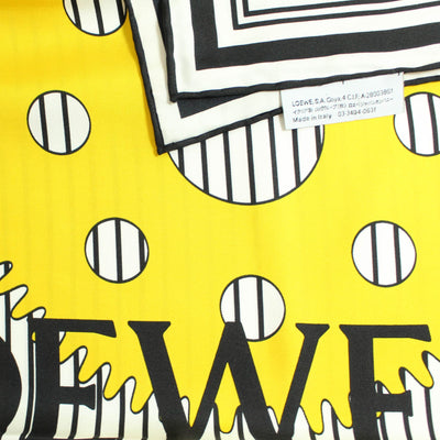 Loewe Scarf White Black Yellow Navy Red Gear - Twill Silk Square Scarf
