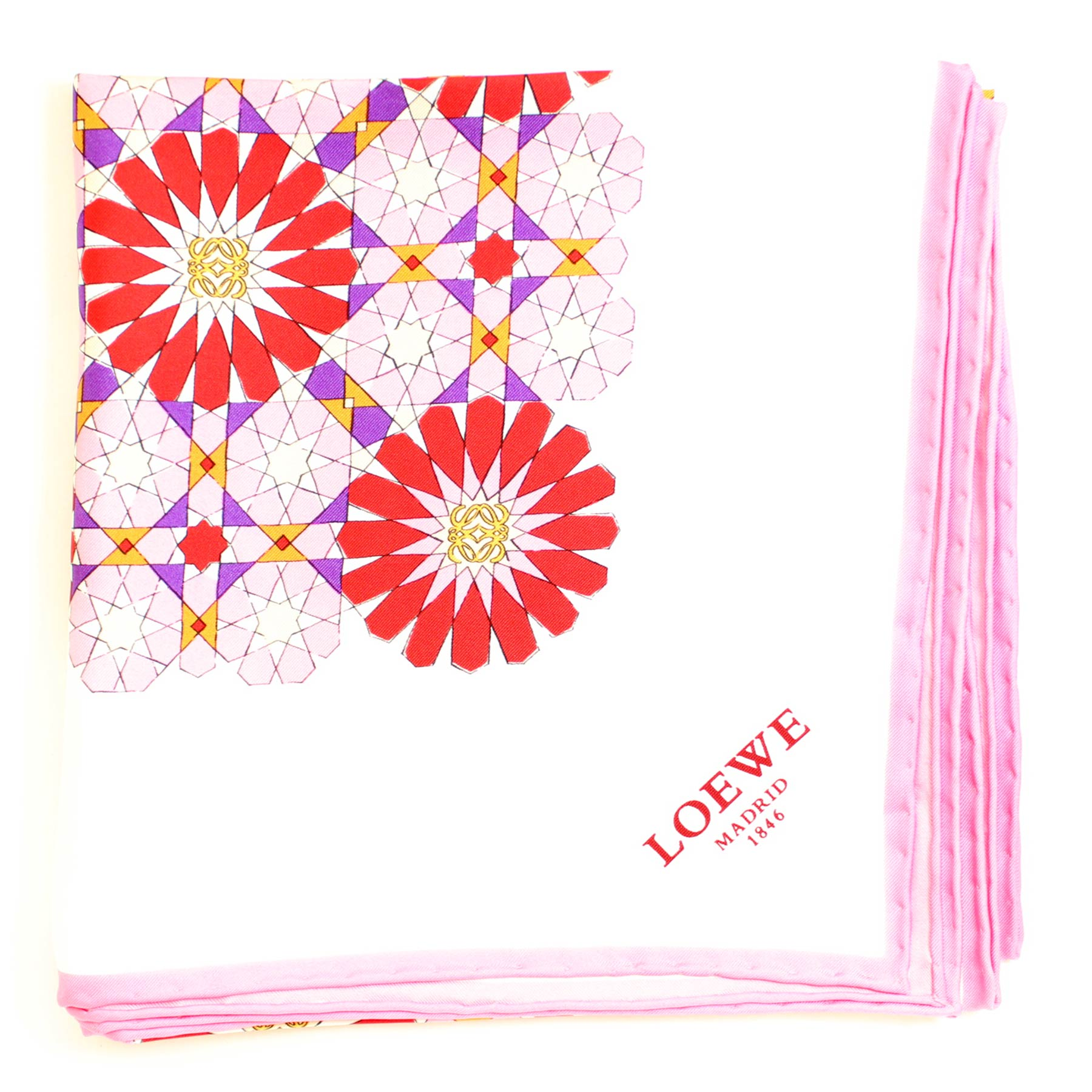 Loewe Scarf White Pink Red Purple Geometric Flowers