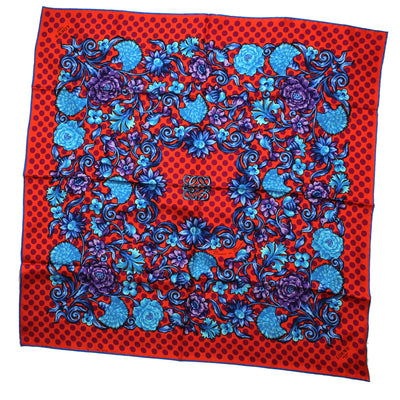 New Loewe Scarf Manton De Manila Orange Blue Fuchsia Polka Dots - Silk Square Scarf