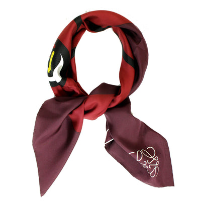 Loewe Scarf Maroon Cat Face - Twill Silk Square Scarf SALE