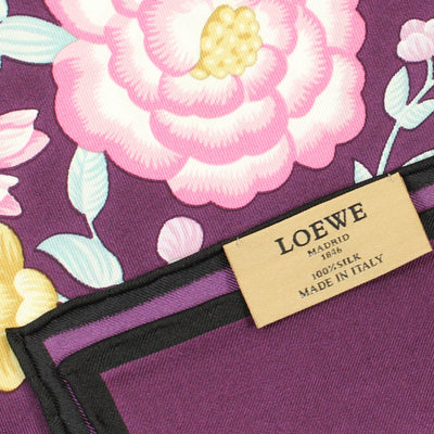 Loewe Scarf Purple Pink Floral - Twill Silk Large Square Scarf SALE