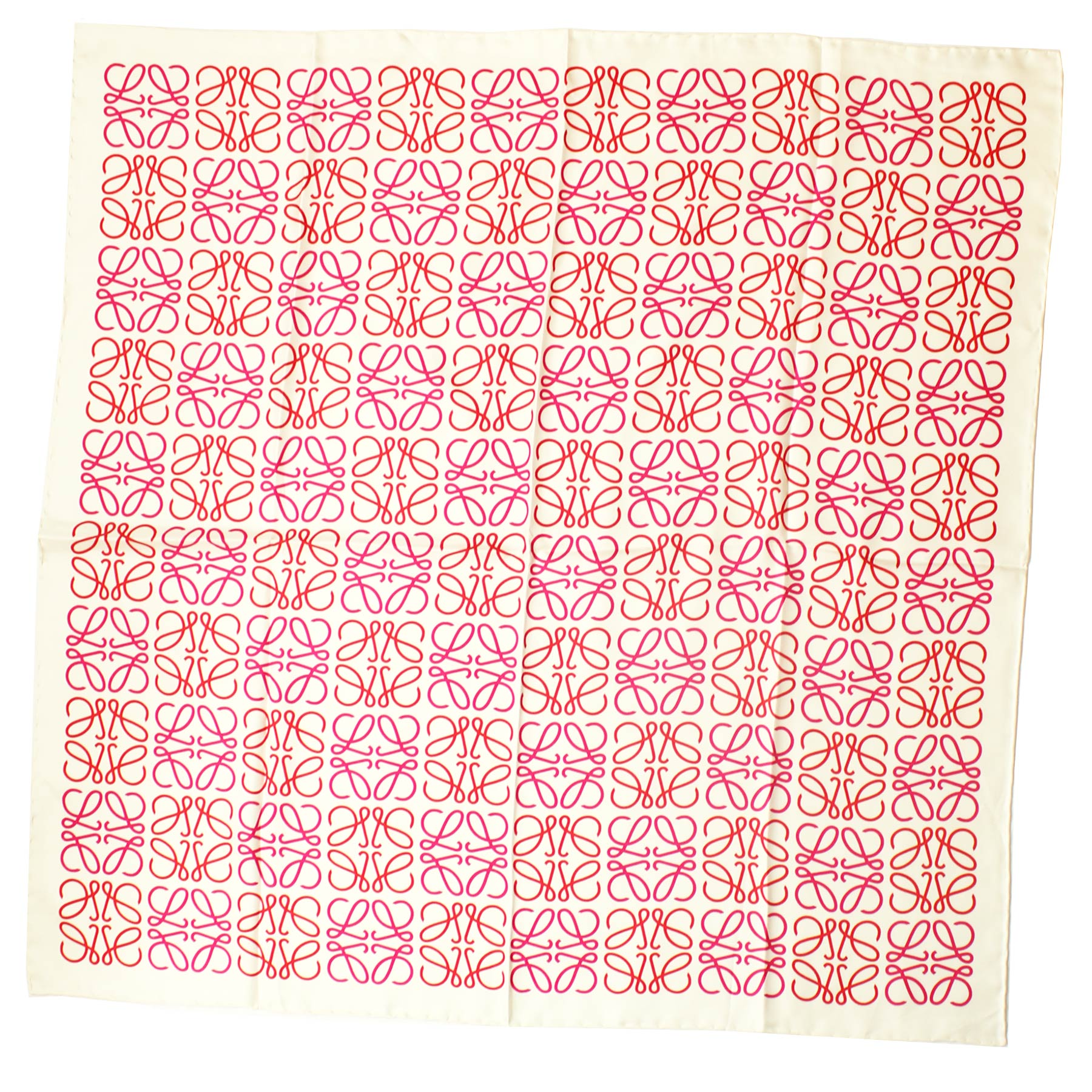 Loewe Scarf White Pink Red Anagram Design