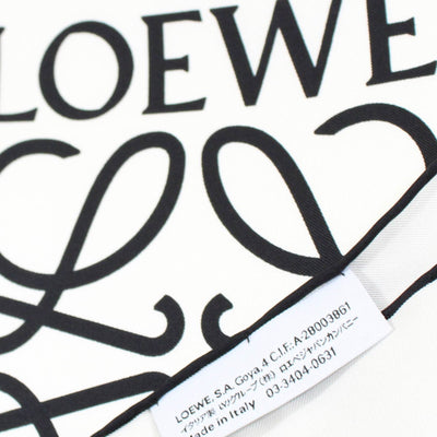 Loewe Scarf White With Black Anagram Logo - Twill Silk Large Square Scarf