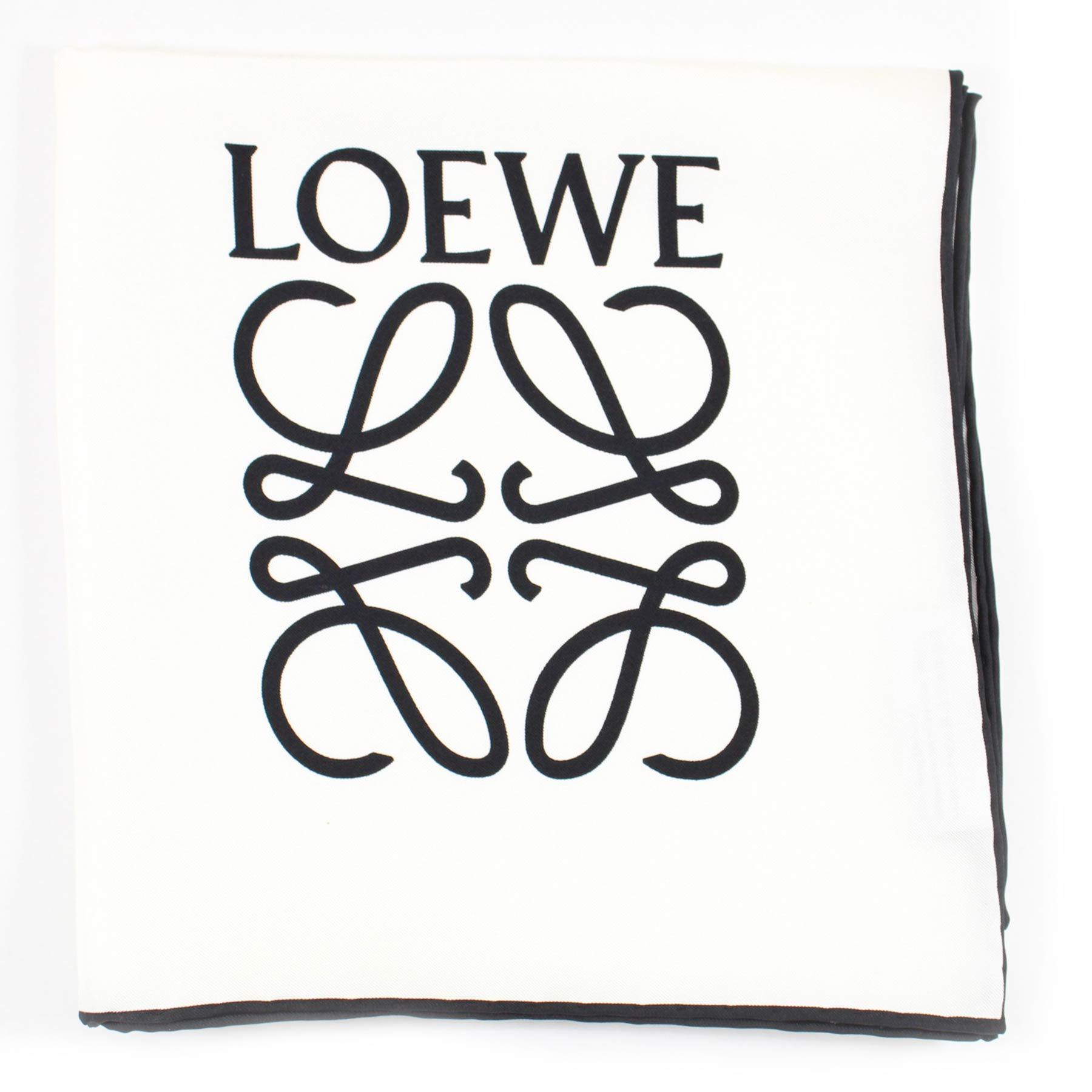 Loewe Scarf White With Black Anagram Logo