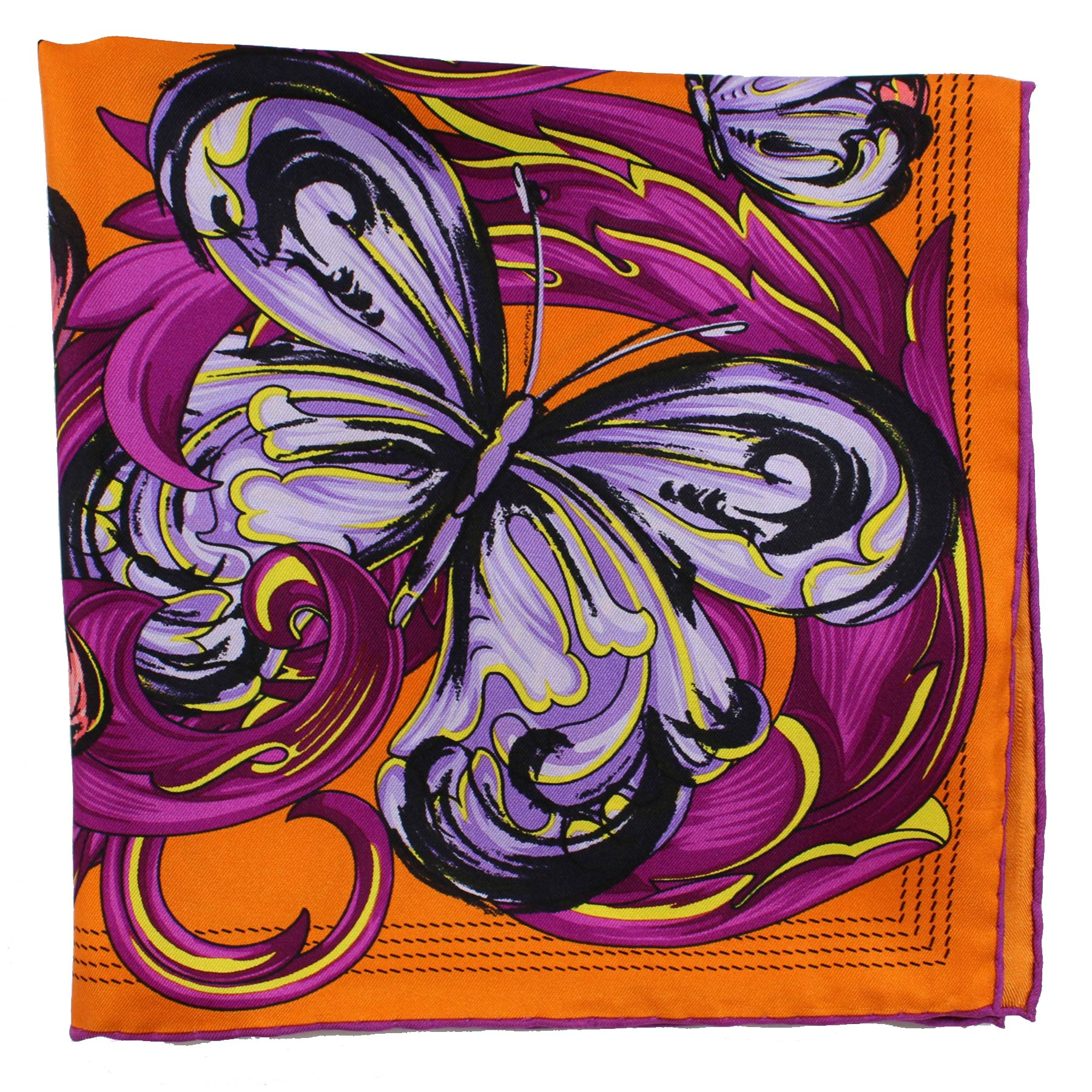 Loewe Scarf Orange Fuchsia Purple Butterfly - Large Twill Silk Square Scarf