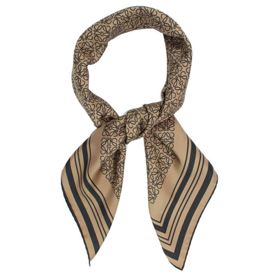 Loewe Scarf Taupe Anagram Design - Large Twill Silk Square Scarf