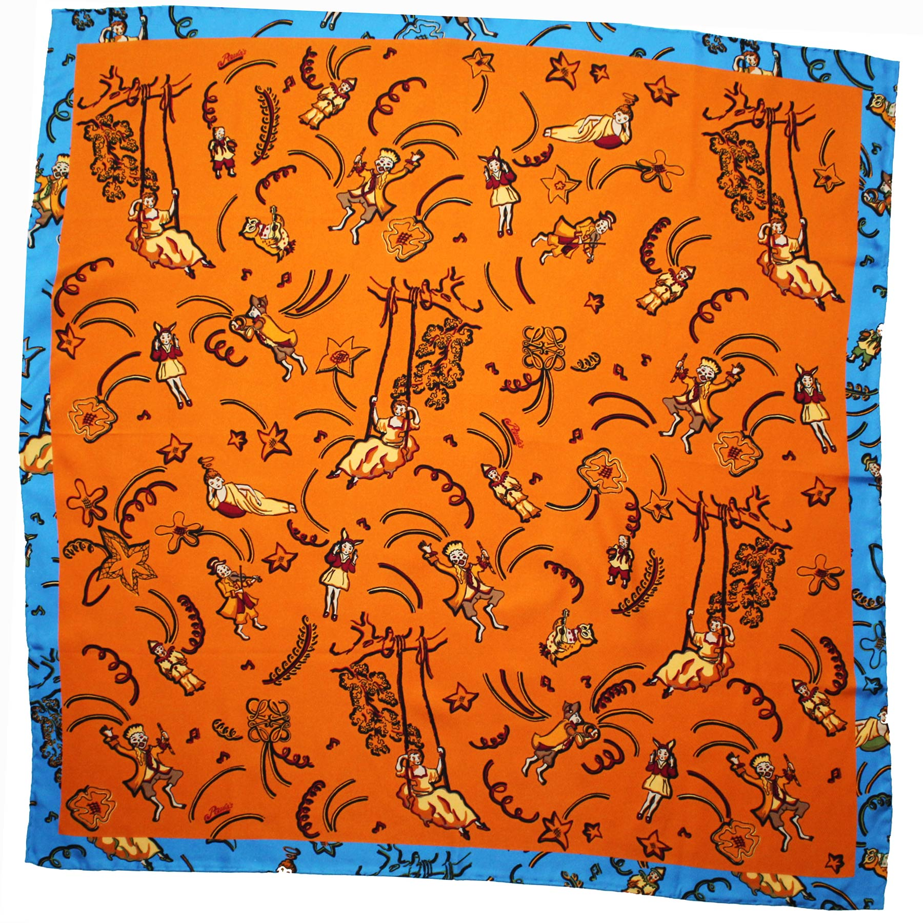 Loewe Scarf Orange Blue Design Paula's Ibiza - Large Twill Silk Square Scarf SALE