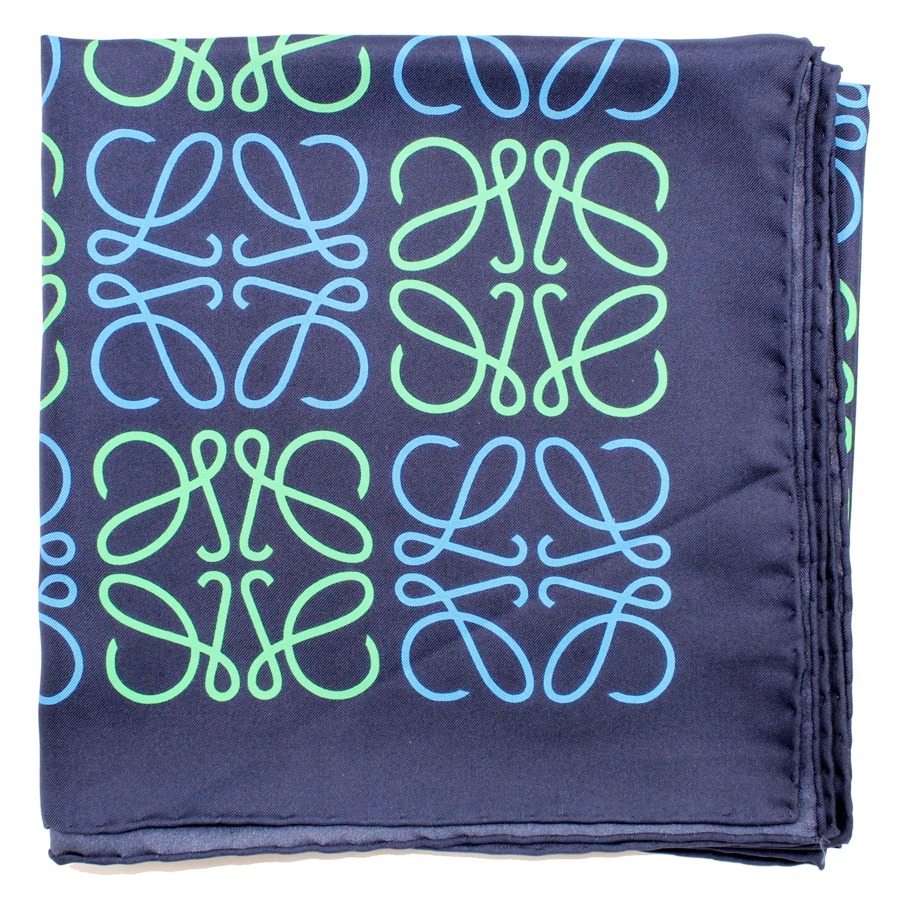 Loewe Silk Scarf Navy Green Anagram Design