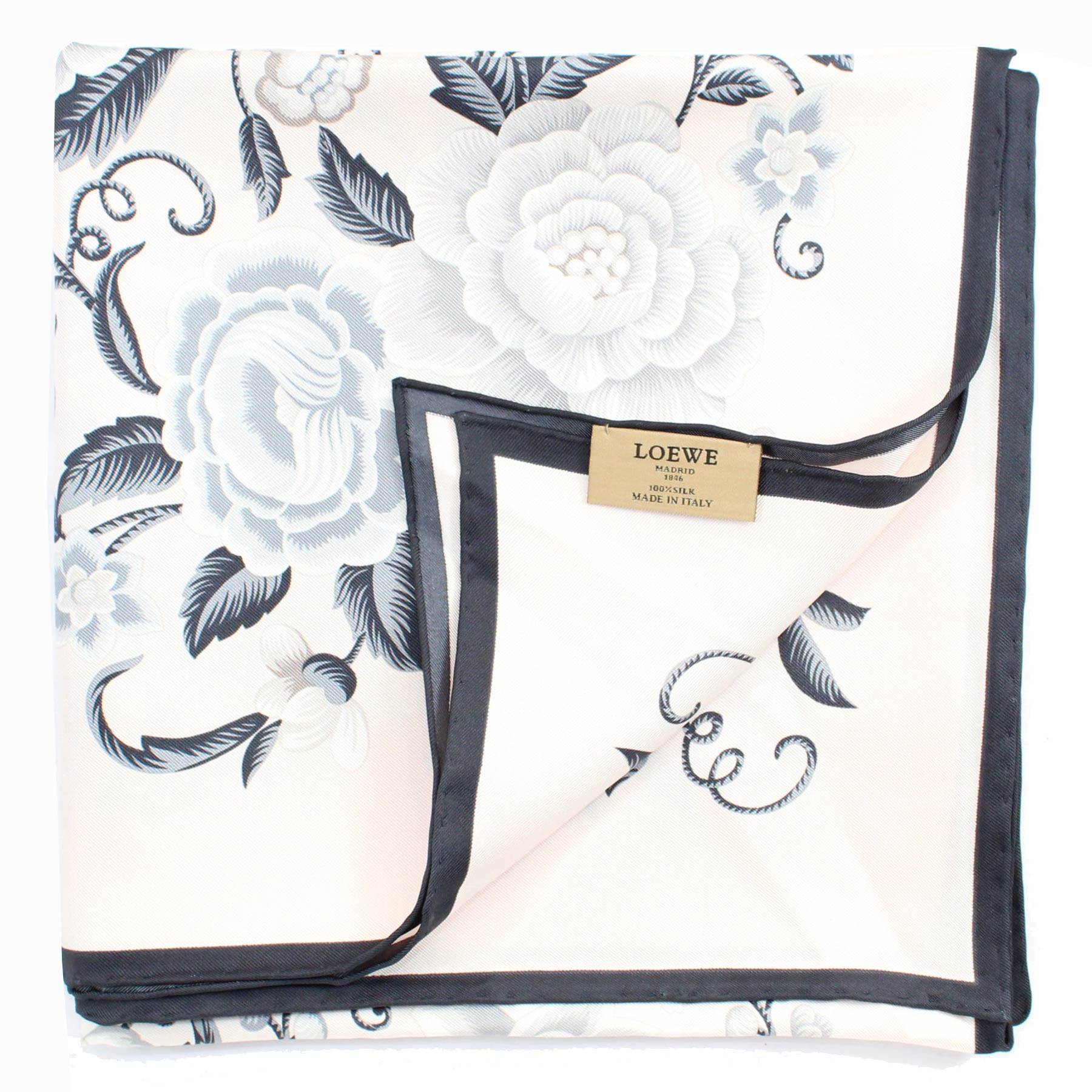 Loewe Silk Scarf Light Pink Gray Black Floral - Large Square Scarf FINAL SALE