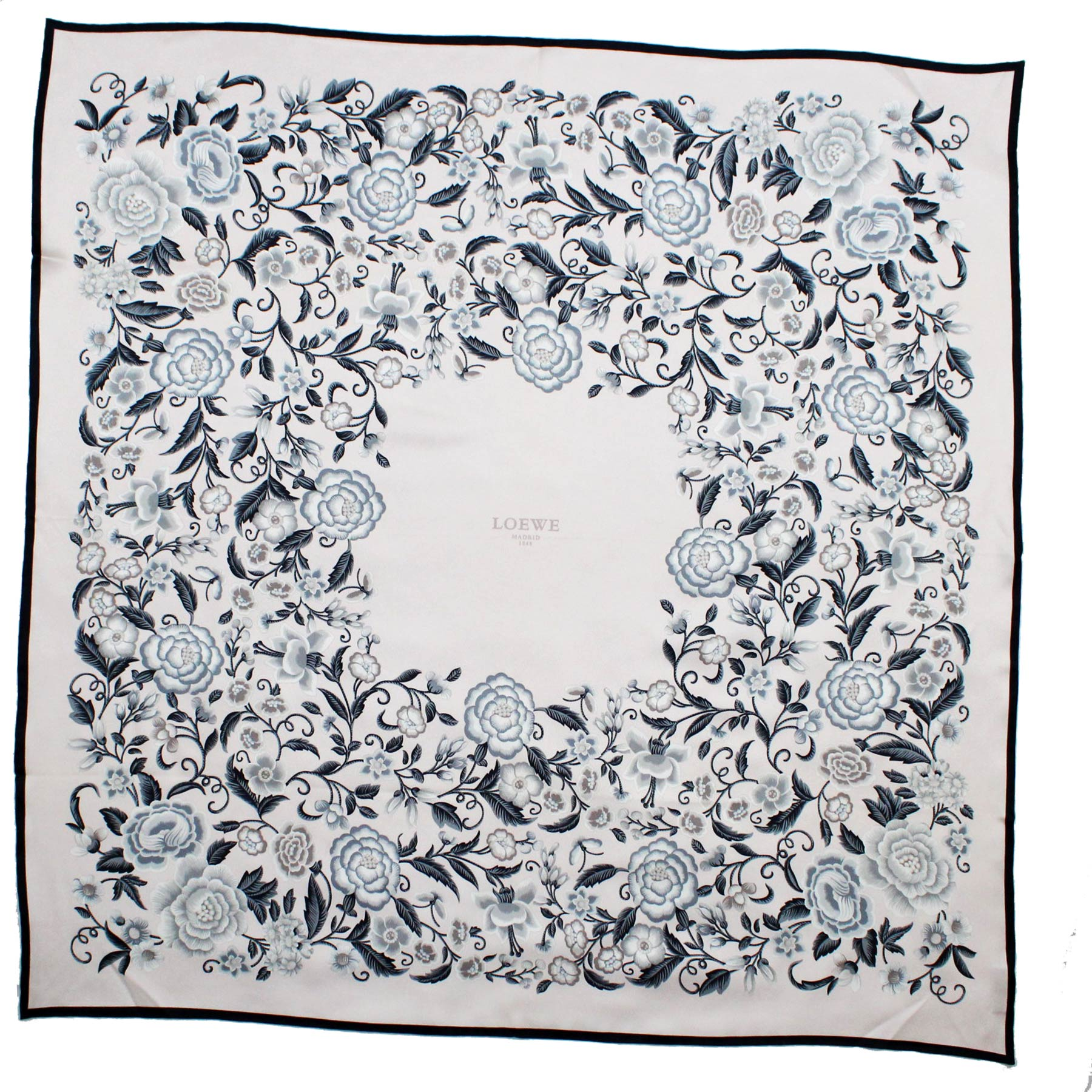 Loewe Silk Scarf Light Pink Gray Black Floral - Large Square Scarf