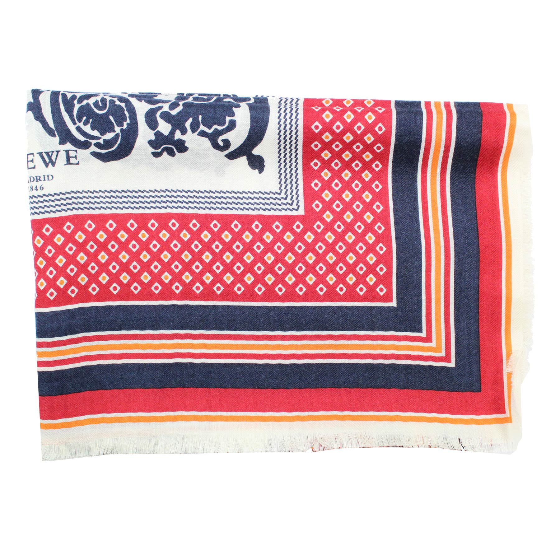Loewe Scarf White Lapis Blue Red Paisley Stripes