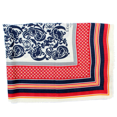 Loewe Scarf White Lapis Blue Red Paisley & Stripes - Cashmere Silk Shawl