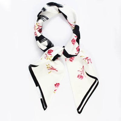 Loewe Scarf White Calligraphy Anagram & Flowers - Large Twill Silk Square Scarf